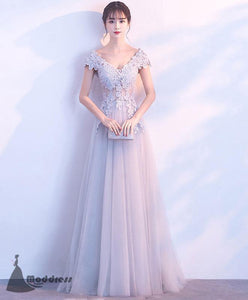Grey Long Prom Dress V-Neck Applique Evening Dress A-Line Tulle Formal Dress,HS516