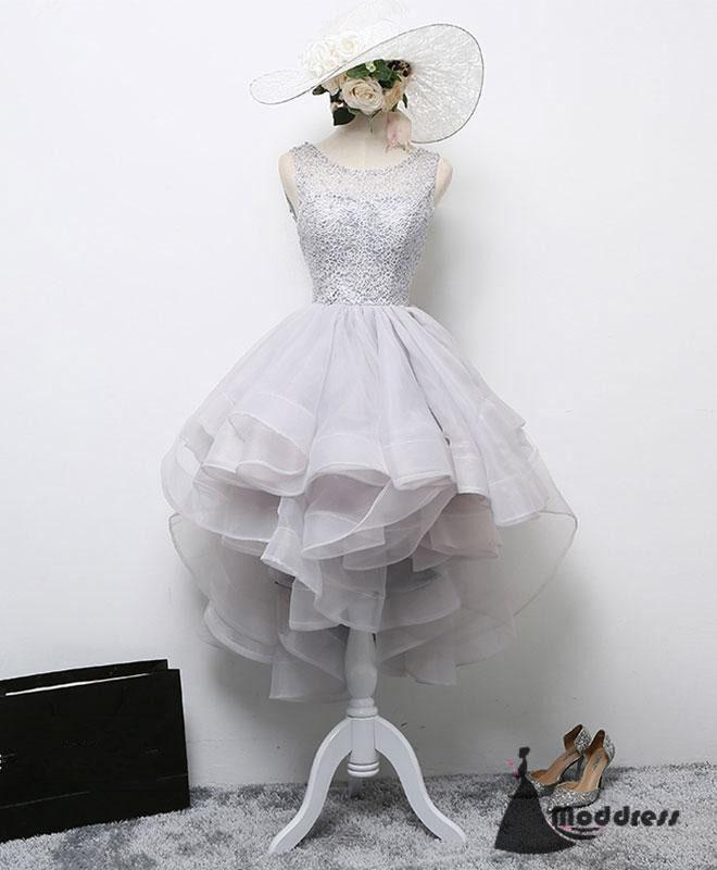 Grey Short Prom Dress Lace Homecoming Dress Scoop Formal Dress,HS480