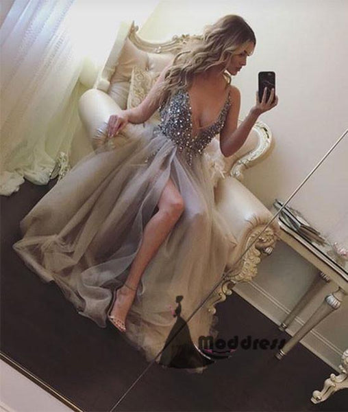Grey V-Neck Long Prom Dress Tulle Sequins Evening Dress with High Slit,HS398
