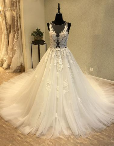 White round neck tulle applique long prom dress, wedding dress,HS019