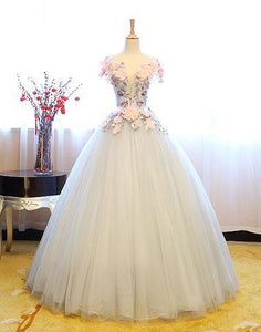 Gray round neck tulle lace applique long prom dress, sweet 16 dress,HS023