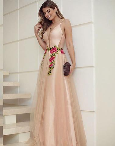 2018 Elegant v neck long prom dresses, cheap evening dresses