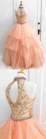 charming high neck prom dress ruffle beading wedding dress ball gown evening dress sleeveless cocktaildress,HS031
