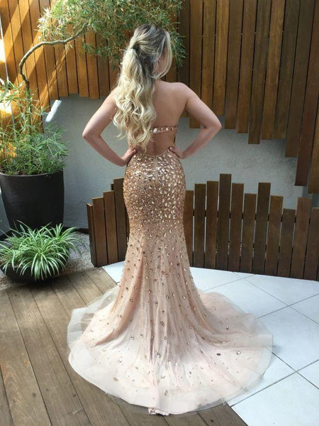 b-ling crystal prom dress handmade prom gowns mermaid evening dress backless cocktail dress,HS035