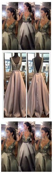 Popular B-Ling Prom Dress Crystal A-line V-Neck Evening Dress Sleeveless Prom Gowns ,HS038