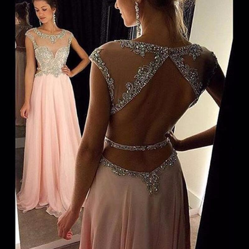 pink prom dress, long prom Dress, beaded evening dress, open back prom dress, 2018 evening dress, BD353