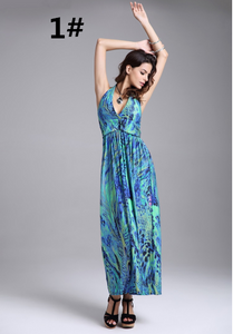 Halter Bohemian Dress Colorful Peacock Flower Milk Silk Beach Vacation Dress,CQ00037