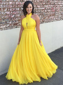Halter Yellow Prom Dresses,Simple Cheap Evening Dresses,Long Chiffon Bridesmaid Dresses,HS270