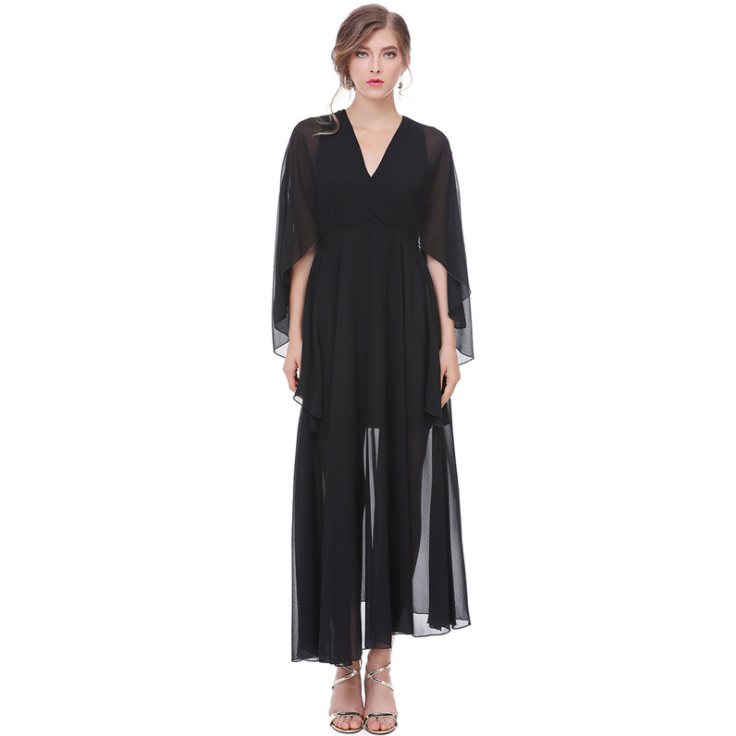 High-Profile Women's V-Neck High Waist Bat Split Sleeve Chiffon Dress Casual Long Dresses,CQ0008