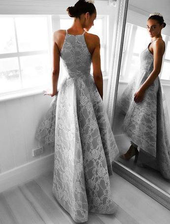 High Low Homecoming Dresses Lace Long Prom Dresses Grey Evening Formal Gowns