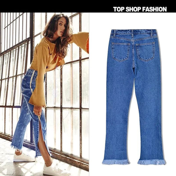 High Waist Bell-Bottoms Trousers Loose Straight Jeans Trousers Double Side Zipper Flares Casual Pants,NZ0002