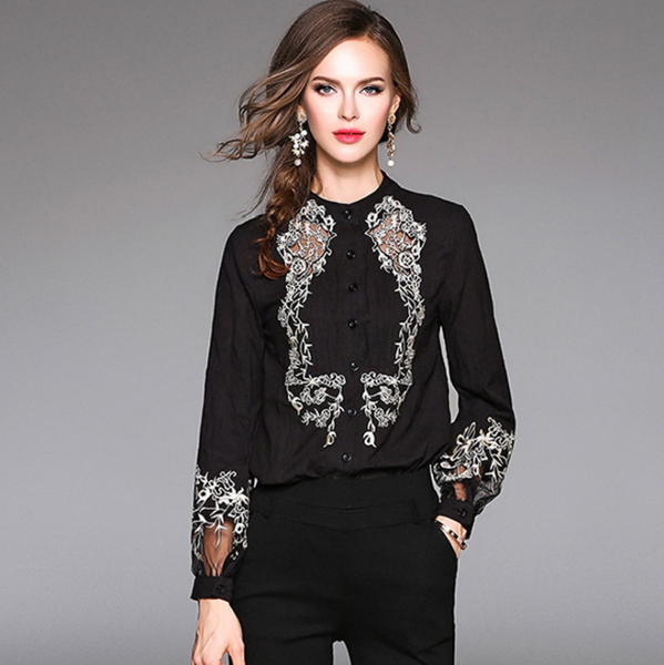 Hollow Embroidery Women Blouses Stand Collar Pleated Lantern Sleeve Women Shirt Cotton Linen Casual Blouses,CS0009