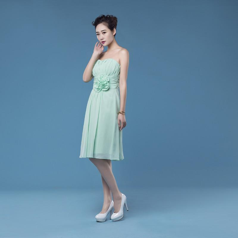 mint short chiffon Bridesmaid Dresses, cheap wedding guest dresses,BD2001
