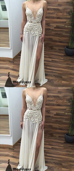 Ivory V-Neck Long Prom Dresses Lace Applique Evening Dress with High Slit,HS442