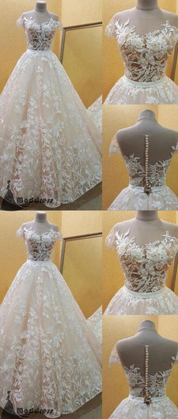 Lace Applique Wedding Dress Short Sleeve A-Line Bridal Gowns Long Prom Dress,HS373