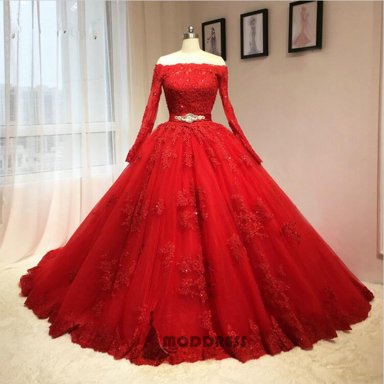 Lace Applique Wedding Dresses Off the Shoulder Ball Gowns Long Sleeve Bridal Dresses,HS536