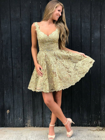 Lace Beaded Homecoming Dresses V-Neck Short Prom Dresses A-Line Formal Dresses