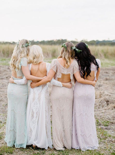 Lace Bridesmaid Dresses Backless Long Bridesmaid Dresses Short Sleeve Bridesmaid Dresses,MG0021