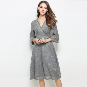 Lace Dresses V-Neck 34 Sleeve Casual Dresses Knee Length Women Dresses,CQ0004