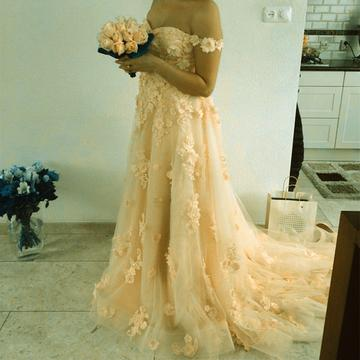 Lace Flower Long Prom Dresses Off The Shoulder Tulle Wedding Dresses,HS571