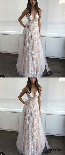 Lace Long Prom Dress Deep V-Neck Evening Dress A-Line Formal Dress,HS476