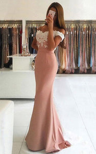 Lace Long Prom Dresses Mermaid Evening Dresses Off the Shoulder Formal Gowns,MG0034