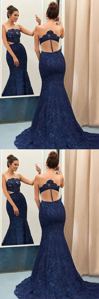 Lace Long Prom Dresses Mermaid Sleeveless Evening Formal Dresses