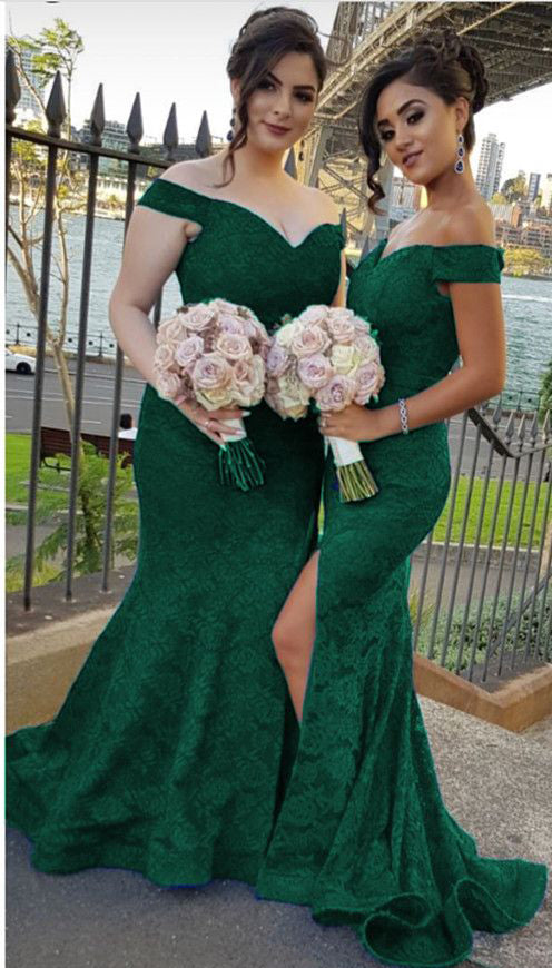 Lace Mermaid Bridesmaid Dresses V-Neck Long Bridesmaid Dresses Off the Shoulder Bridesmaid Dresses,MG0059