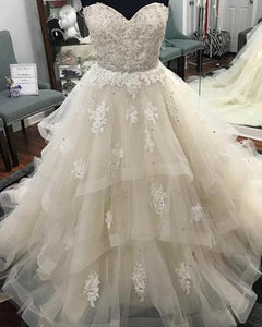 Lace Sweetheart Beaded Long Prom Dresses Tulle Ball Gowns Wedding Dresses,HS561