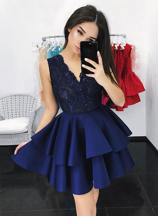 Lace V-Neck Short Homecoming Dresses Sleeveless Prom Dresses Satin Knee Length Evening Formal Dresses,MG001