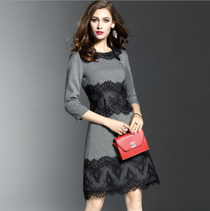 Lace Women Dresse 3-4 Sleeve Casual Dresses Knee Length A-Line Women Business Dresses,CQ0005
