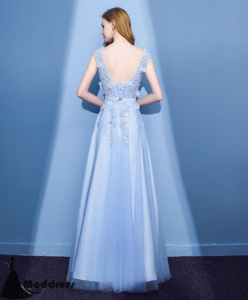 Light Blue Long Prom Dress Applique A-Line Evening Dress Tulle Formal Dress,HS508