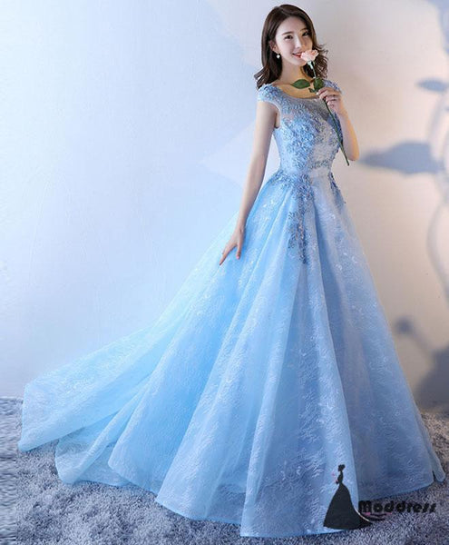 Light Blue Long Prom Dress Lace Applique Evening Dress A-Line Formal Dresses