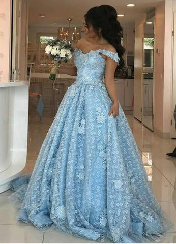 Light Blue Long Prom Dresses Lace Off the Shoulder Evening Formal Dresses,HS562