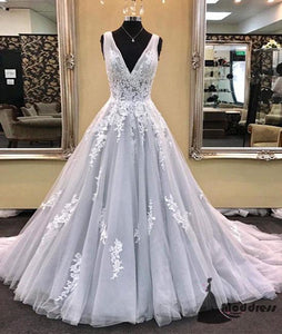 Light Grey V-Neck Long Prom Dress Applique A-Line Tulle Evening Dress,HS400
