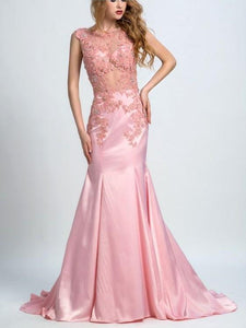 Mermaid Illusion Sweep Train Satin Rhine Stone Appliqued Prom Dresses,HS143