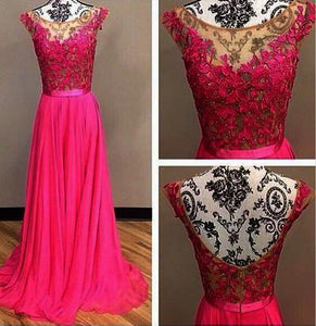 hot pink prom dress,long prom dress,charming prom dress,chiffon prom dress,cheap prom dress, BD531