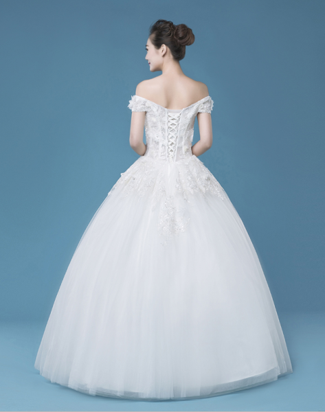 Off shoulder A-line floor-length wedding dress, charming wedding dress, WD75