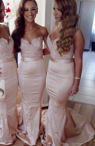 Mermaid Long Bridesmaid Dresses Strapless V-Neck Bridesmaid Dresses