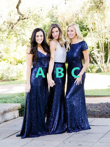 Multi-Style Bridesmaid Dresses Sequins Long Bridesmaid Dresses Simple Bridesmaid Dresses,MG0027