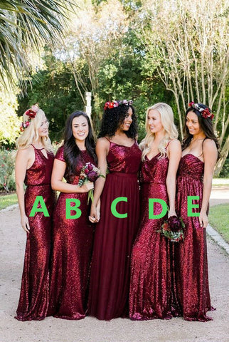 Multi-Styles Long Bridesmaid Dresses Sequins Bridesmaid Dresses A-Line Bridesmaid Dresses,MG0029