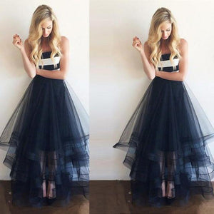 tulle prom dress, long prom dress, A-line prom dress, strapless prom dress, evening gown