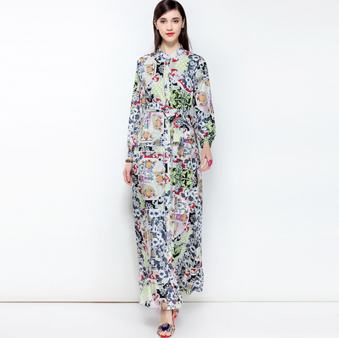 New Bohemian Printed Dress Women Long Sleeve Sweep Train Beach Dress,Holiday Dress,CQ00021