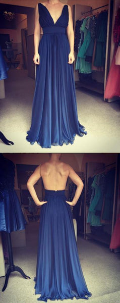 2018 chiffon long backless v-neck cheap prom dress, PD815