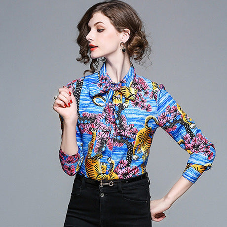 Pattern Women Blouses Lapel Button Down Casual Women Long Sleeve Business Shirts,CS0001