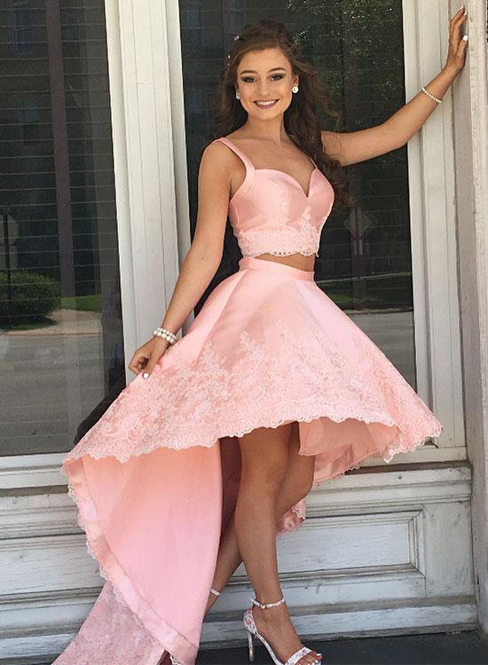 Pink 2 Pieces High Low Homecoming Dresses V-Neck Applique Short Prom Dresses Cute Evening Formal Dresses,MG003