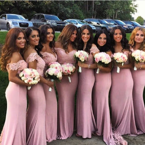 Pink Applique Bridesmaid Dresses Mermaid Bridesmaid Dresses Off the Shoulder Bridesmaid Dresses