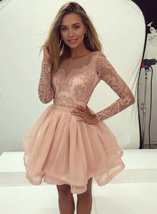 Pink Applique Homecoming Dresses Short Prom Dresses Long Sleeve Knee Length Evening Dresses,MG004
