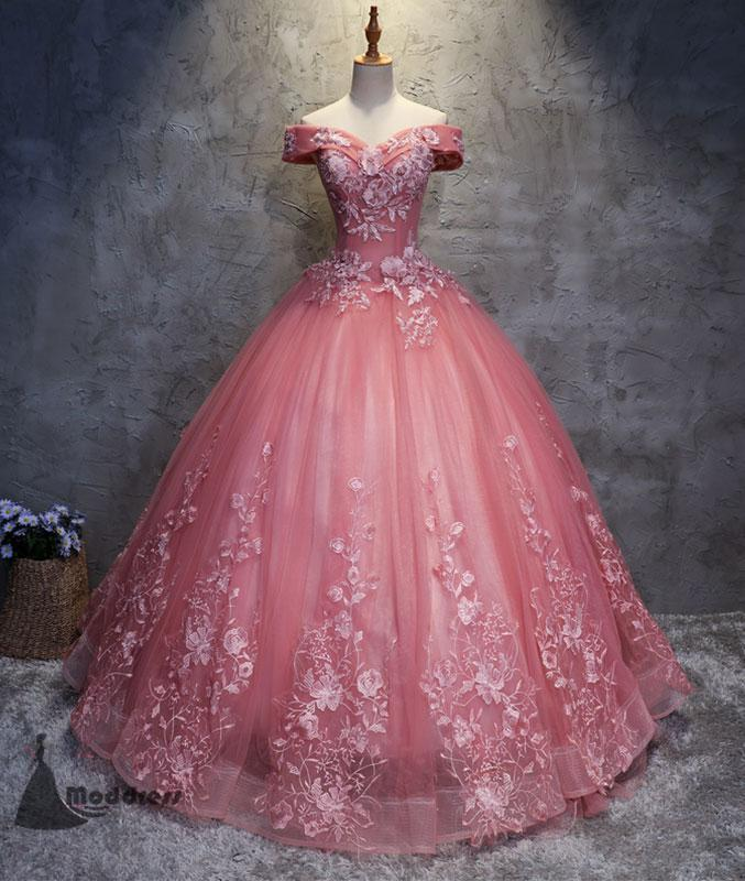Pink Applique Wedding Dresses Off the Shoulder Tulle Long Prom Dress Ball Bridal Gowns,HS371