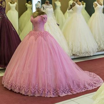 Pink Applique Wedding Dresses V-Neck Ball Gowns Tulle Quinceanera Dresses,HS563